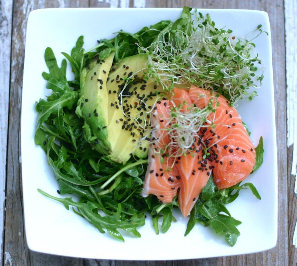 Salmon Sashimi Salad, arugula, sprouts, salmon, sashimi, salad, adrenals, anti-candida, sides, thyroid, estrogen dominance, menopause, PCOS