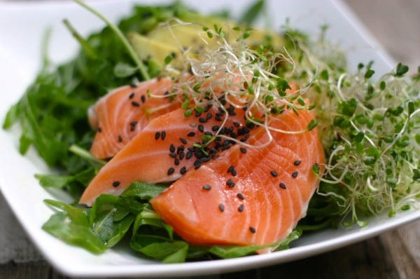 Salmon Sashimi Salad with Wild Salmon and Fresh Bitter Greens